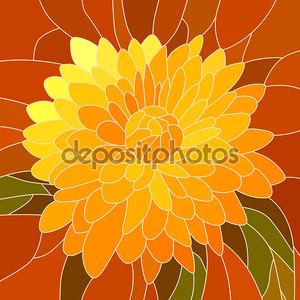 Векторная иллюстрация желтый цветок хризантемы.