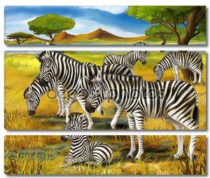 Сафари - зебры - иллюстрации для детей
