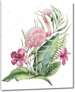 Рисованная акварель фламинго в зелени