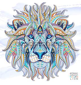 Голова льва в этническом узоре