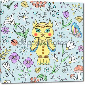 Милая сова и абстрактные цветы