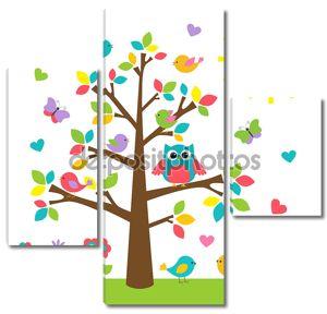 Красочные дерево с милая сова и птицы