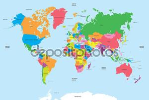 политическая карта мира вектора