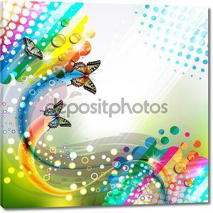 Цветной абстрактный фон с бабочками