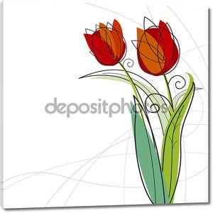 Тюльпан дизайн на белом фоне