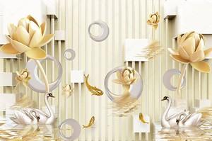 Белые керамические асимметричные кольца, большие и маленькие бежевые водяные лилии