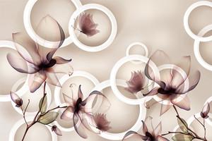 Цветы на фоне кругов