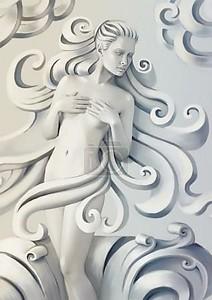 Скульптура красивой женщины с вьющимися волосами