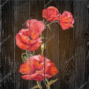 картина маслом. карта с маками цветов