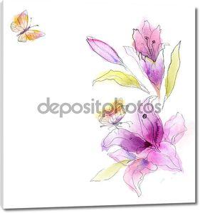 Красочные цветы, Акварель дизайн