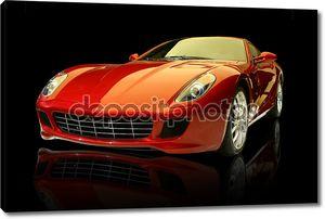 Красный роскошный спортивный автомобиль
