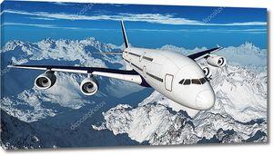 Самолет над горами (3D рендеринг  )