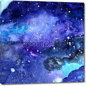 акварельная структура пространства с пылающими звездами. ночное звездное небо с ударами краски и плеском. векторная иллюстрация.