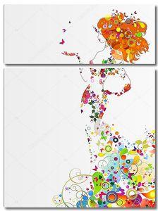 Девушка из цветов и бабочек