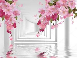 Белые колонны, коридор, отражение в воде