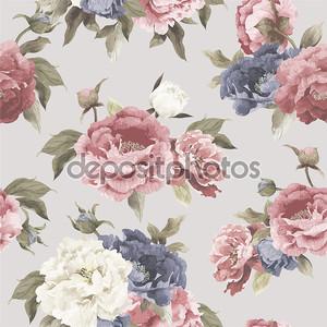 Цветочный узор с пион