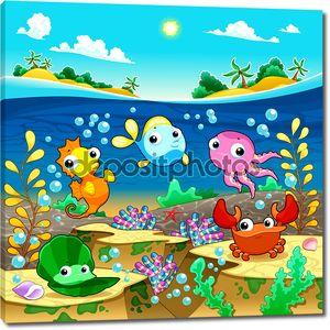 Счастливая семья морской под морем.
