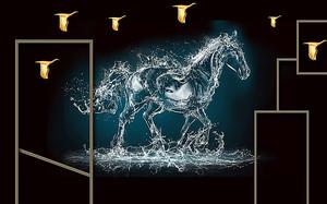Конь из водных брызг