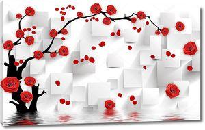 Белые прямоугольники с цветущей веткой