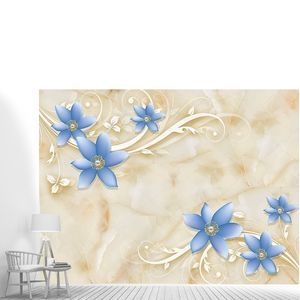 Голубые цветки на мраморе