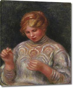 Ренуар. Девушка за плетением кружев