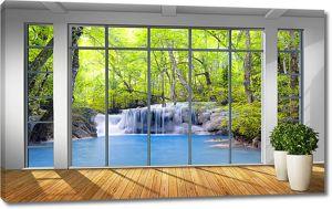 Водопад в панорамном окне
