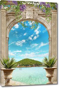 Остров и море сквозь арку