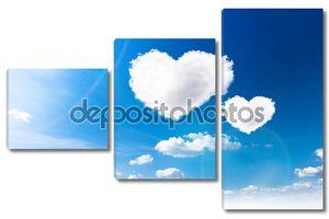 Голубое небо с облаками форму сердца. Салон красоты природный фон
