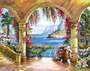 Сказочная терраса с множеством цветов