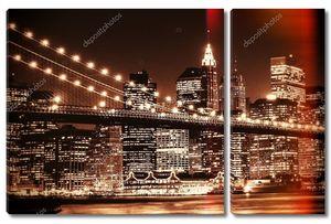 Нью-йоркский горизонт Бруклинского моста и Нижнего Манхэттена