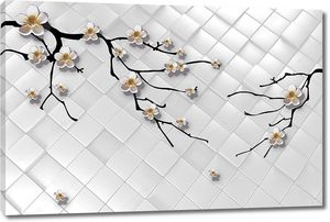 Черные ветви вишни с белыми цветами