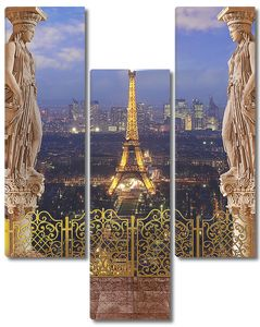 Вид с балкона на ночной Париж и Эйфелеву башню
