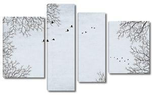 Птицы в зимнем небе