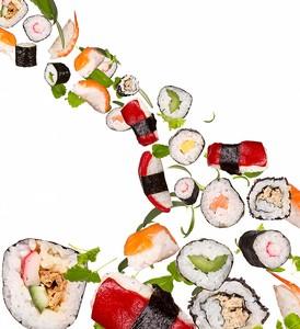 Роллы и суши в полете