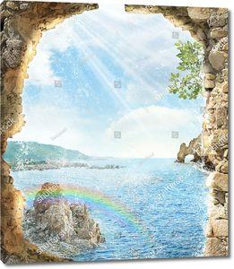 Солнце и радуга сквозь разлом