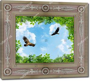 Небо с двумя птицами в рамке с зеленью по краям