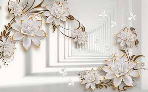 Цветы с золотой кромкой на фоне тоннеля