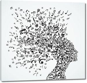 Женщина головы музыки отмечает всплеск