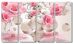 Розы с объемным фоном