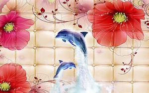 Дельфины в прыжке на фоне маков