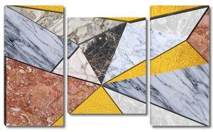 Панель из треугольной мраморной плитки разных размеров и цветов