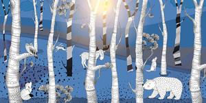 Woodland-звери в синем лесу