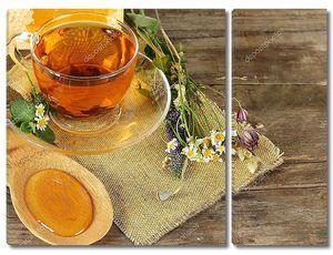 Чая и меда на фоне - концепция органические продукты питания