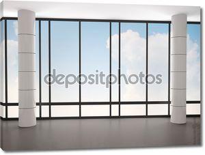 3D иллюстрации пустой интерьер с большими окнами и столбцы