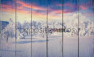 снегопад покрыты деревья и дома