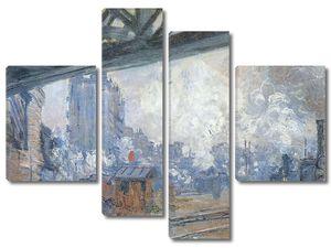 Моне Клод. Вокзал Сен-Лазар, вид снаружи 1877