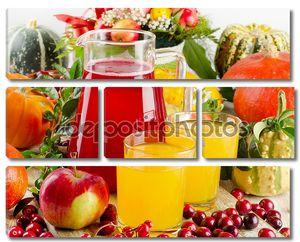 Осенний натюрморт с сок, фрукты, ягоды и овощи