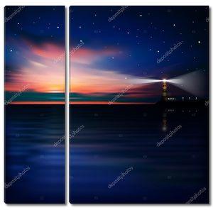 Абстрактный фон с заходом солнца и маяк