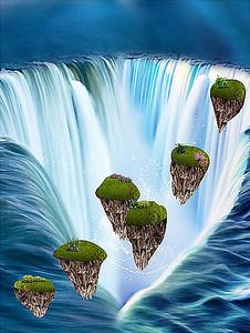 Летающие острова в водопаде