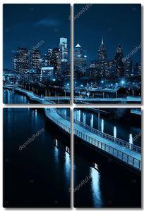 Филадельфия ночью с городской архитектурой.